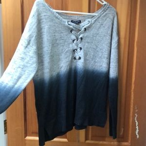 knit blue and grey longeeve sweater, S